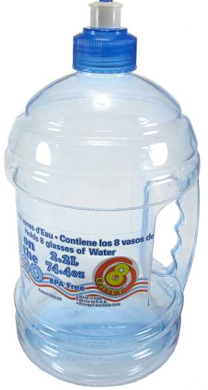 2.2 liter (74.4 oz) clear plastic water bottle