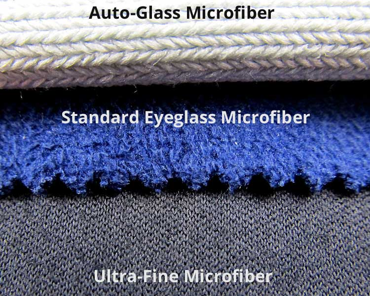 autoglass microfiber, standard eyeglass microfiber, and a lens-cleaning ultra-fine microfiber cloth compared to each other