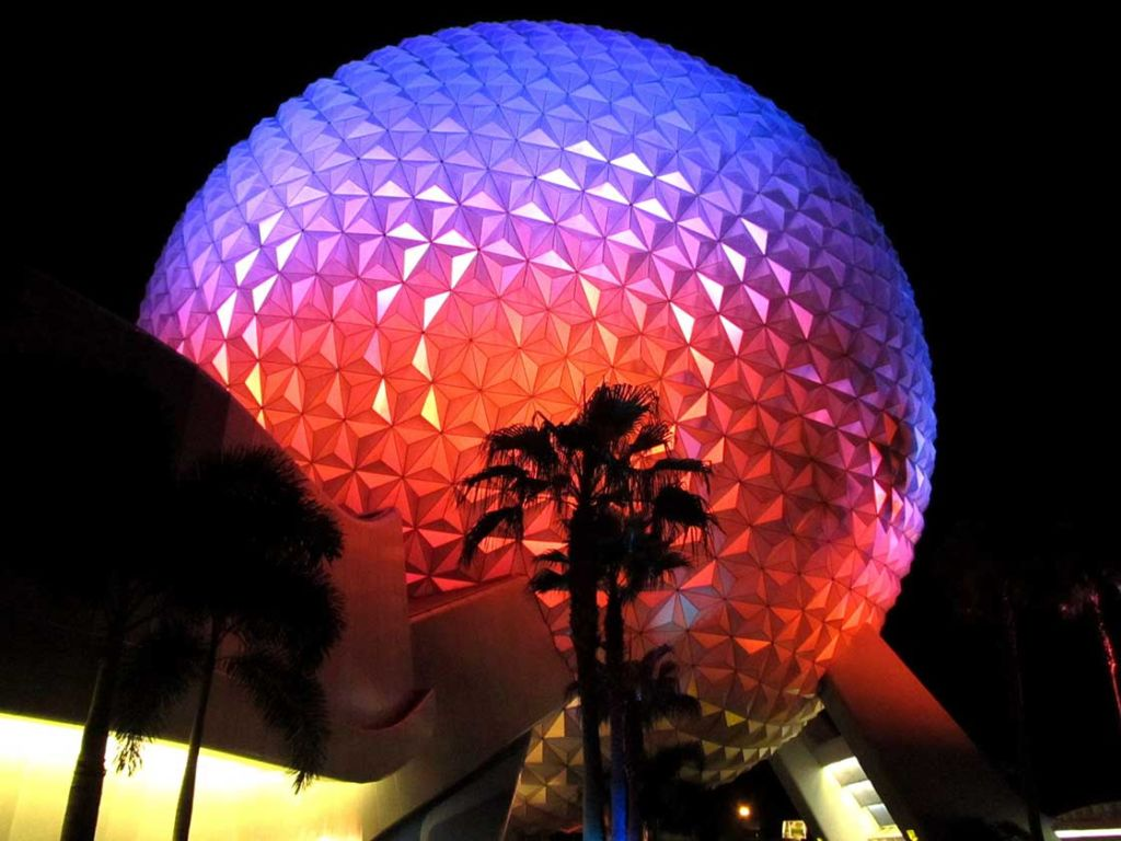 Disney Epcot geodesic dome sphere at night