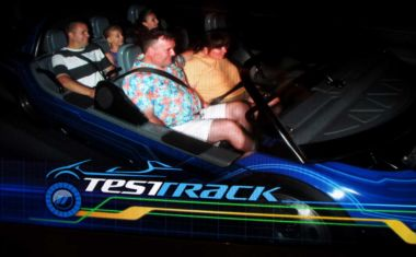 Jeff and Amanda on Test Track in Epcot