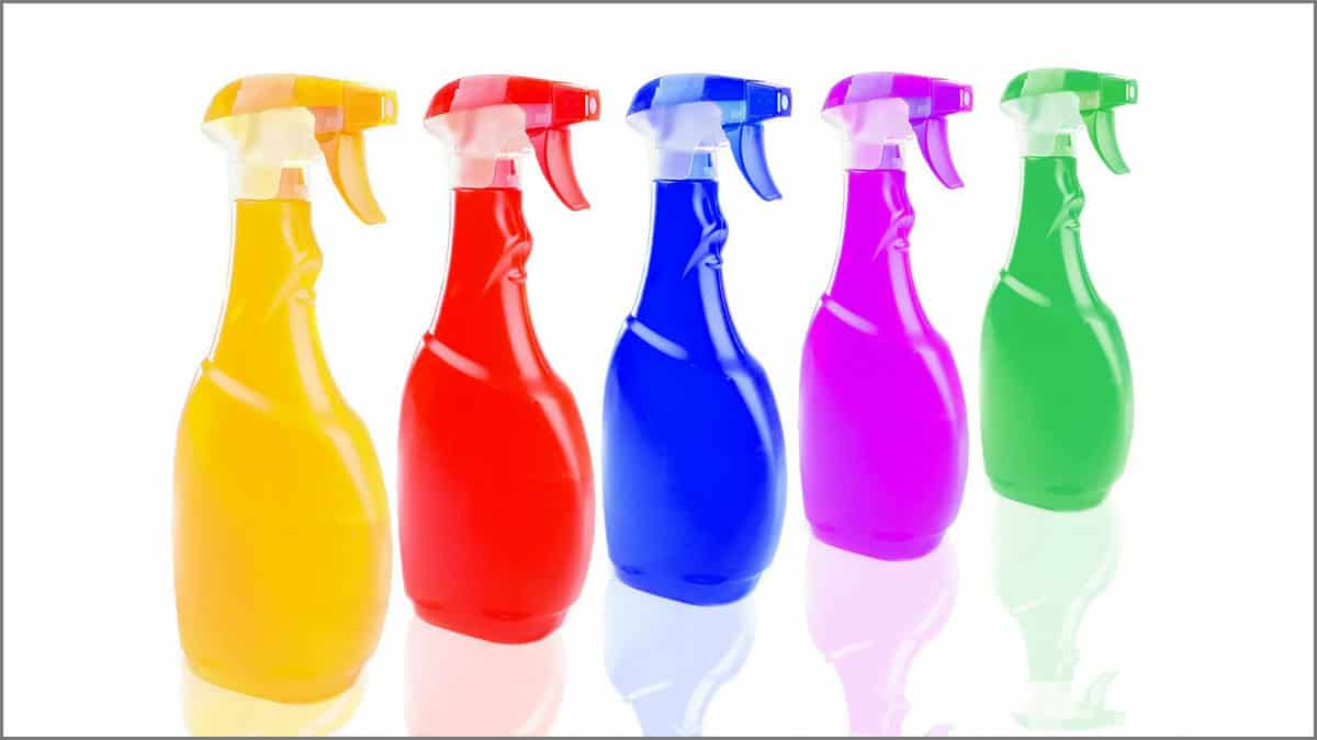 colorful bottles of homemade cleaners