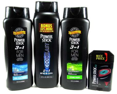 Power Stick body wash, shampoo, and deodorant