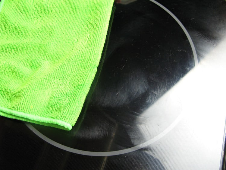 standard microfiber cloth on a glass-top stove