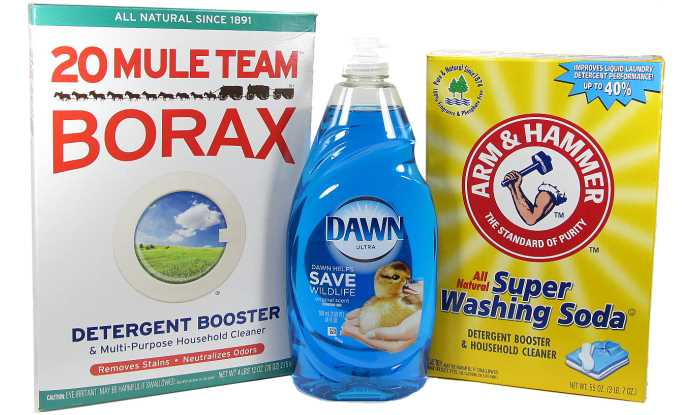 Dawn Ultra dishwashing liquid, 20 Mule Team borax, and Arm & Hammer washing soda